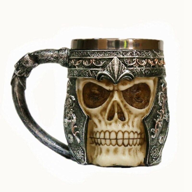 Acero inoxidable 3D Skull Warrior Tankard vikingo esqueleto cerveza taza casco gótico vaso regalo de Halloween