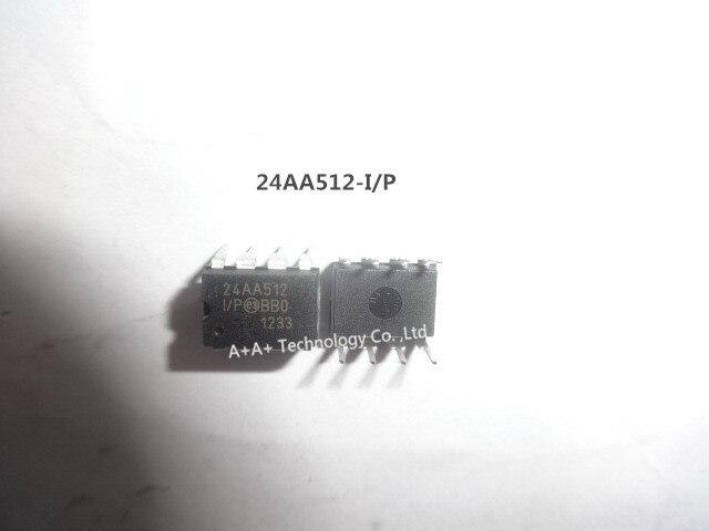 Hot Sale 24AA512-I/P 24AA512 IC Eeprom 512 8kbit 400 khz pçs/lote 10 8DIP Novo e Original