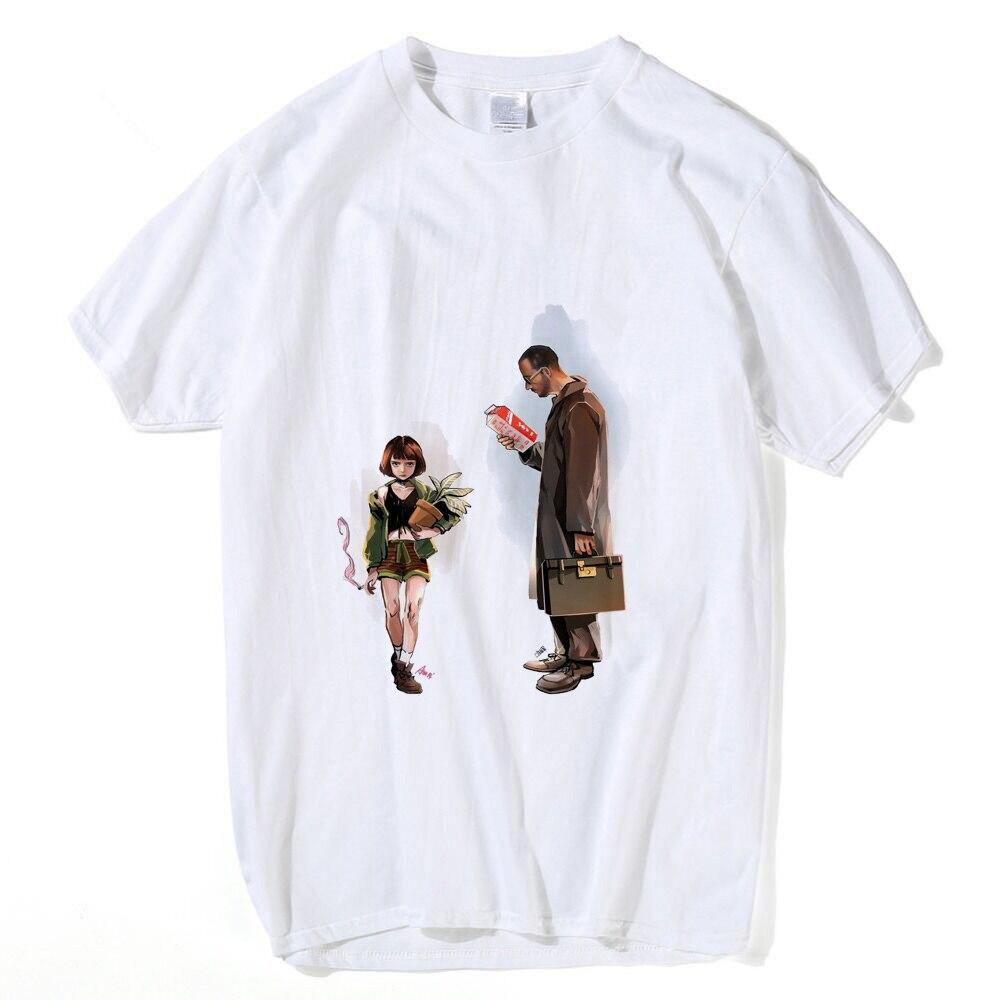 Clásico francés película León La camiseta profesional hombres mujeres manga corta León Matilda dibujos animados Camiseta 100% algodón Top camisetas 3XL