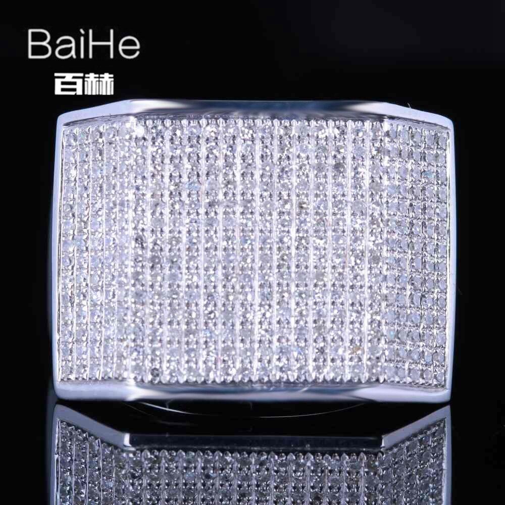 BAIHE الصلبة 14K الذهب الأبيض 1.2CT H/SI جولة الماس الطبيعي خاتم الخطوبة الرجال خاتم العصرية الجميلة مجوهرات خاتم الماس