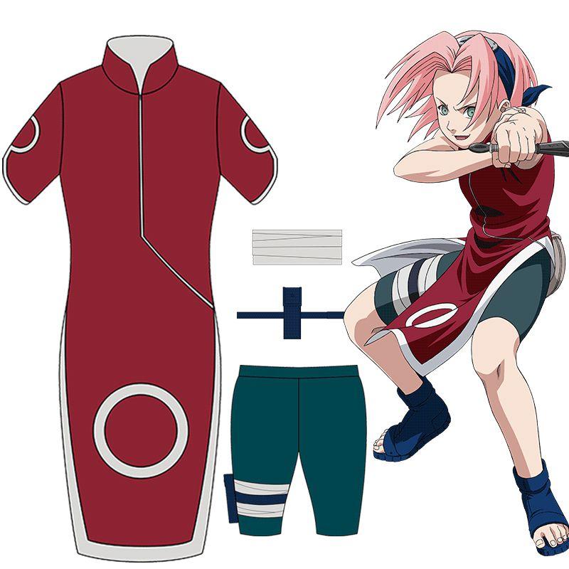 Anime Naruto Cosplay Haruno Sakura 1st Generation Cheongsam Dresses Costume Women Fancy Party Clothing Set for Halloween