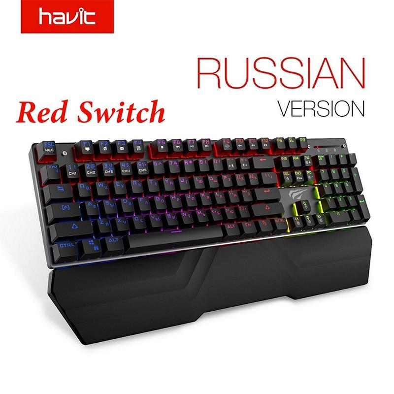 Teclado mecánico HAVIT, 87/104 teclas, interruptor azul o rojo, teclados para juegos, para tableta, escritorio, rusa pegatina/estadounidense