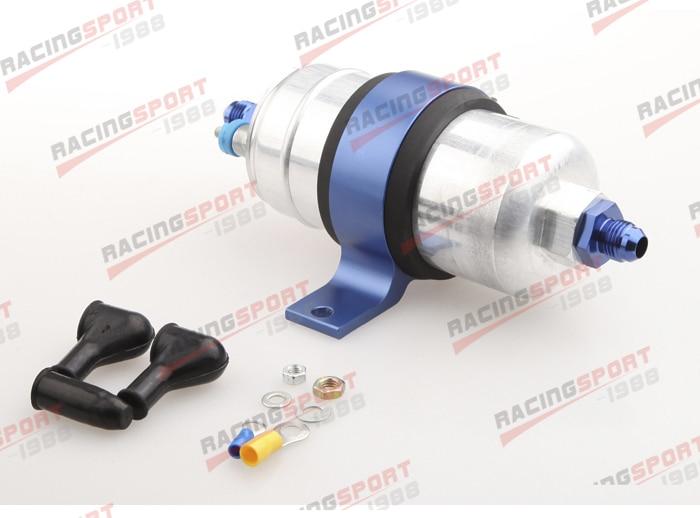 External Fuel Pump 044 for Bosch+Billet Bracket Black+12AN Inlet 8AN Outlet Blue