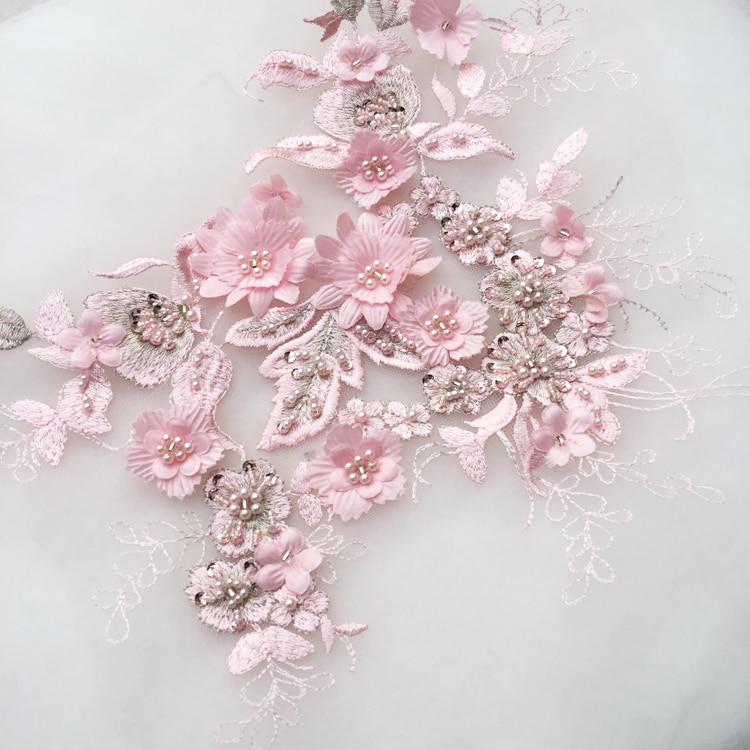 2Pieces/Lot 3D Wedding Dress Applique DIY Bridal Headdress Ivory White Lace Collar Lace Fabric Patch RS1357