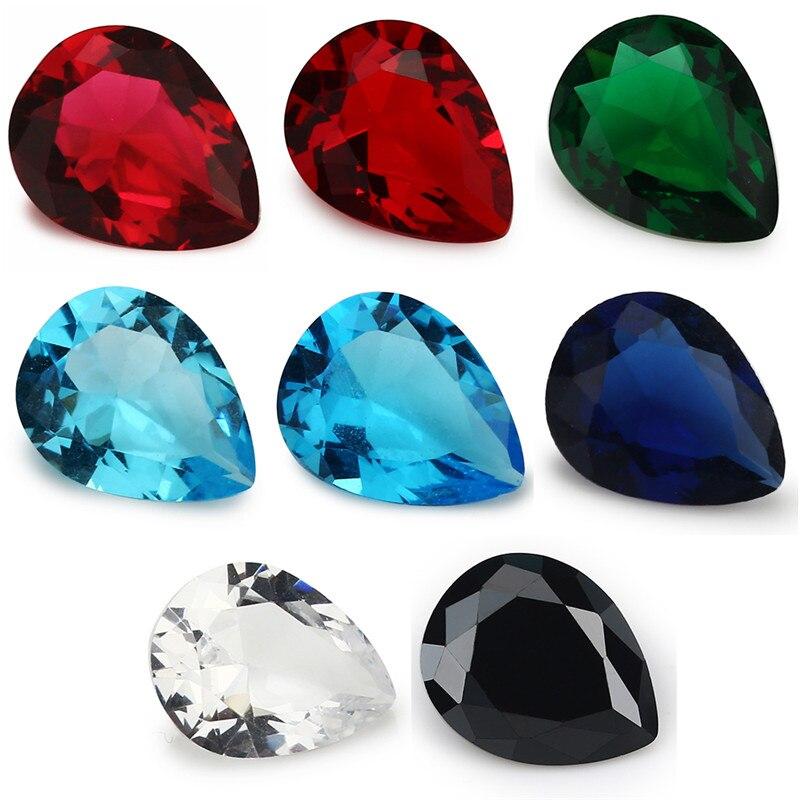 50 Uds 2x3-13x18mm piedra de vidrio suelta en forma de pera Color rosa rojo azul verde blanco