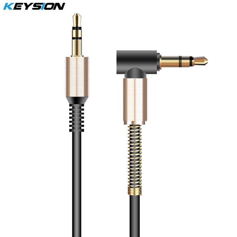 KEYSION 3,5mm jack aux cable 3,5mm macho a macho 90 grados ángulo recto cable de audio plano para coche/PM4 PM3/cable auxiliar auriculares