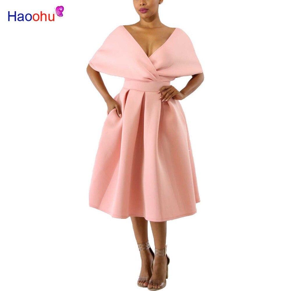HAOOHU Back Zipper Summer Dresses 2018 New Arrival V Neck Short Sleeve Wrap Robe Sexy Party Dress Ladies Backless Women Dress