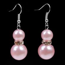 1 пара модные золотые жемчужные Белые и розовые люстры богемные элегантные женские Висячие серьги Бесплатная доставка