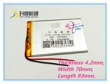 3.7 V, 4000 mAH, [427093] batterie Li-ion PLIB (batterie lithium-ion polymère/TCL) pour tablette pc, mp4, téléphone portable, haut-parleur; Q8, Q88