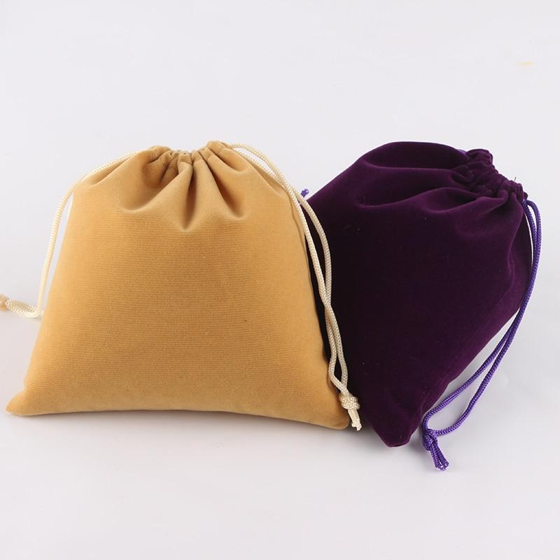 5 pcs/Lot 15*15 cm Logo personnalisé imprimé couleur mixte mariage velours pochette sacs demballage