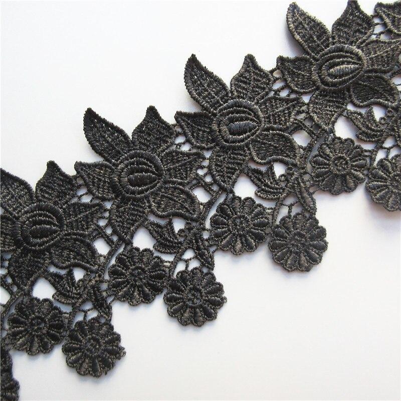 1 yarda 10cm negro flor bordado cinta para ajuste, cordón costura diy para aplique de tela a ganchillo de artículos de costura artesanal