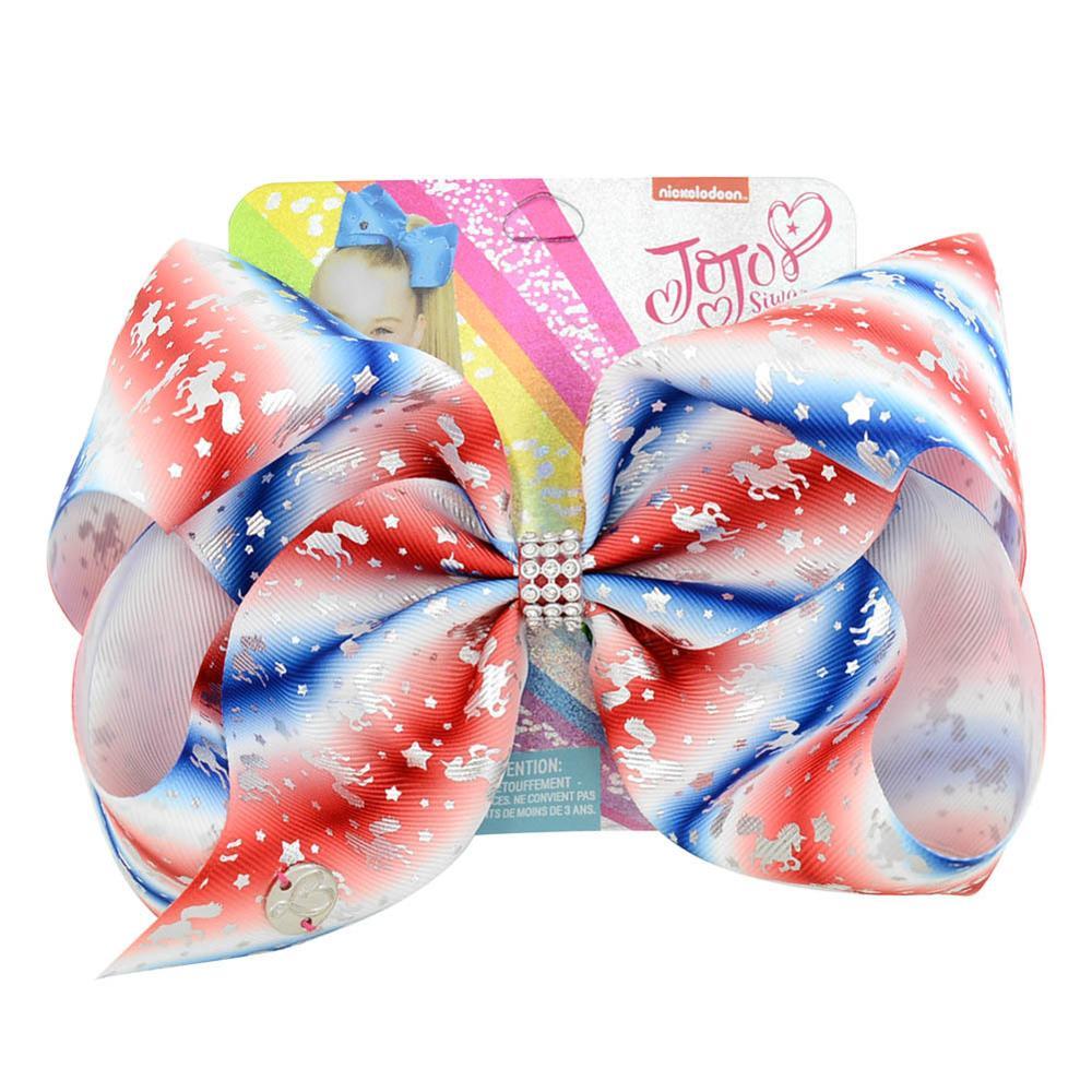 Jojo Siwa arco niñas accesorios para el pelo diadema de 8 pulgadas gran alegría dibujo de lazo patrón hermoso arco iris de unicornio mejor fiesta regalo