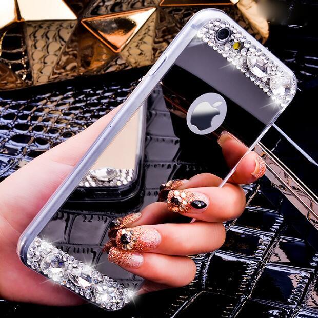 Estuche de espejo de lujo para Iphone X XR XS Max 6S 6 7 8 Plus 11 Pro Max para Samsung S8 S9 S10 Plus Lite de S7 borde Nota 8 9 10 Pro