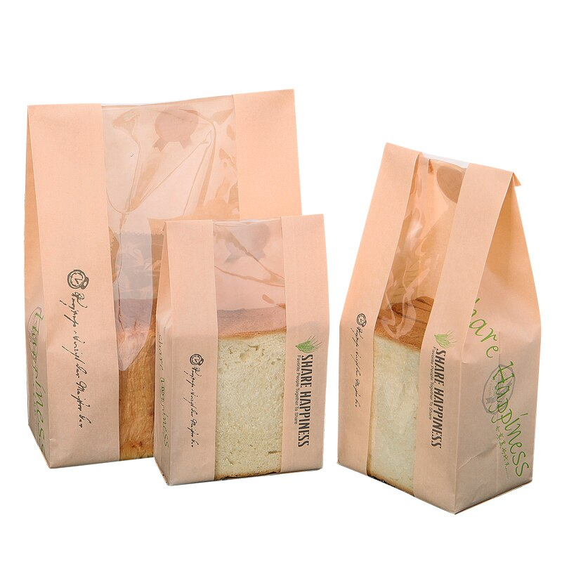 Bolsa de pan de 20 Uds con ventana, bolsa de papel Kraft, embalaje de alimentos, tostada blanca para hornear, pan, bolsa pegatina DIY para hornear 31x21x9cm