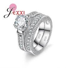 925 juegos de anillos de plata esterlina estampados 2 uds Bijoux anillos de piedra de corazón de cristal AAA de estilo africano para bodas románticas