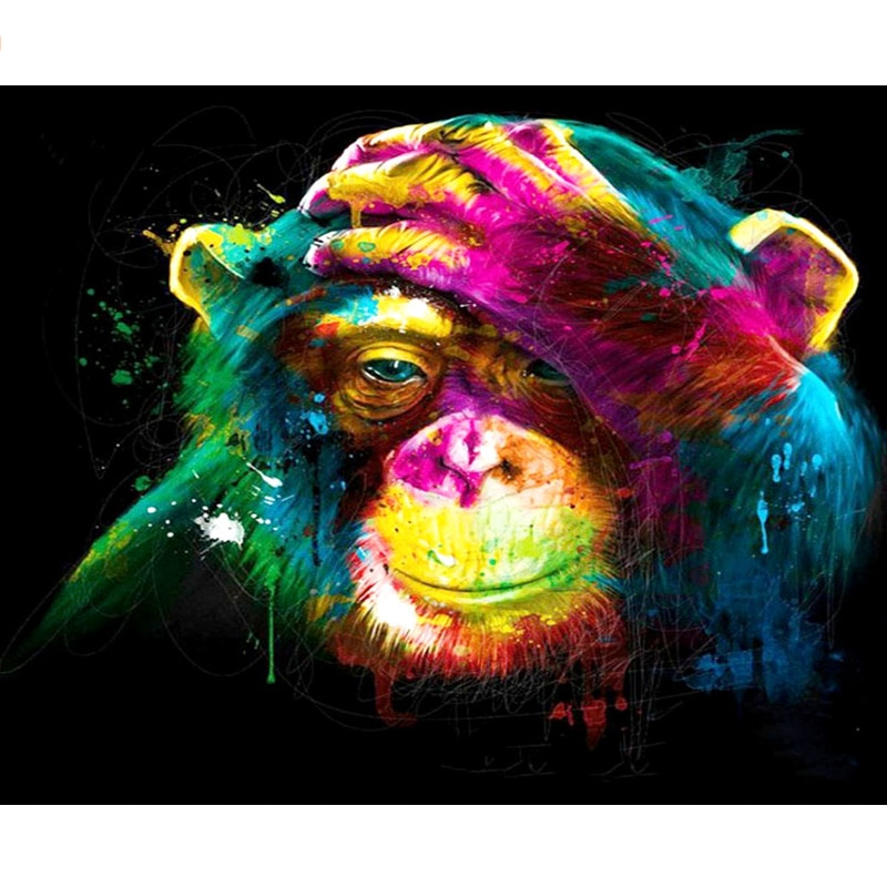 Pintura por números DIY Dropshipping 40x50 50x65cm pintado mono Animal lona decoración de la boda arte imagen regalo