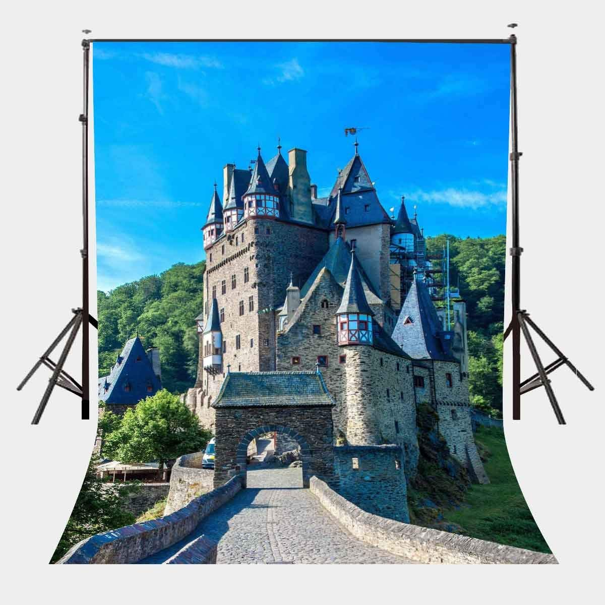 make this medieval castle 150x220cm Medieval Cloister Castle Backdrop Green Mountain Forest Photography Background