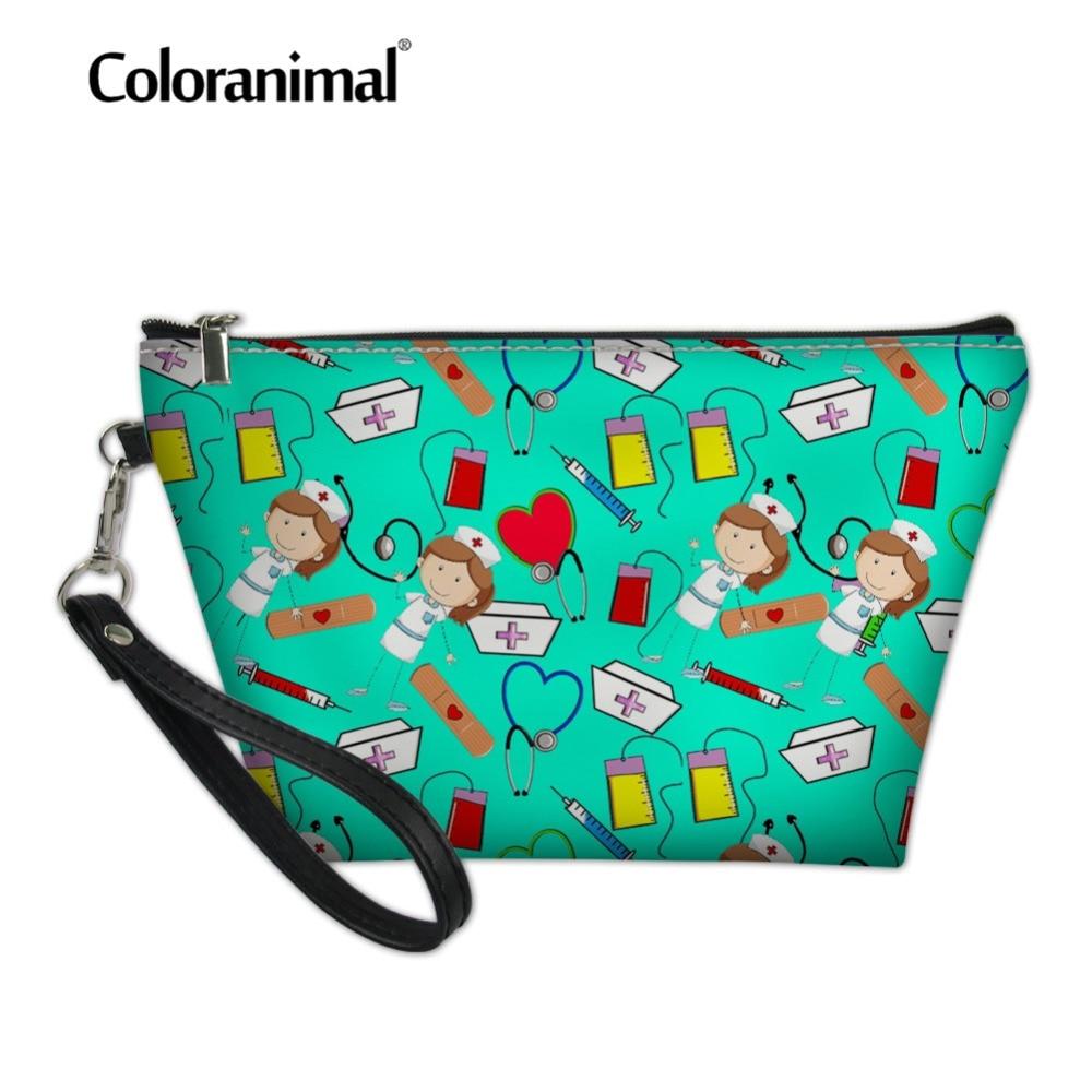 Coloranimal Nurse Women Mini Cosmetic Bag Makeup Case for Travel Organizer Zipper Cartoon Nurse Print Leather Tote Toiletry Kit