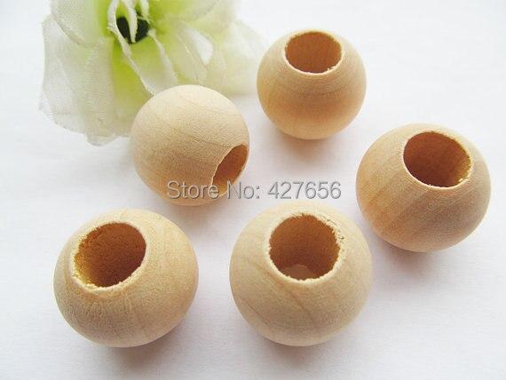 200 pièces 20mm non fini baril boule bois naturel entretoise perles breloque trouver, moyen grand trou, bricolage accessoire bijoux fabrication