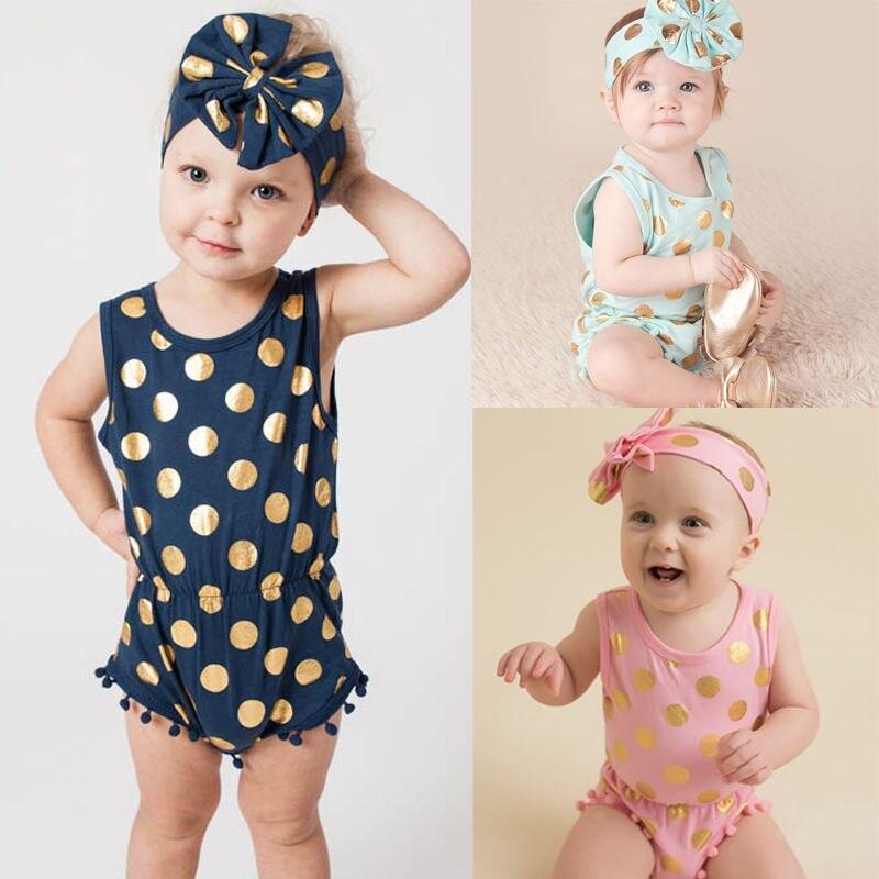 Diadema Casual mono pelele para bebé niña ropa oro lunares algodón sin mangas trajes conjunto Niña 3 6 9 12 18 24 meses