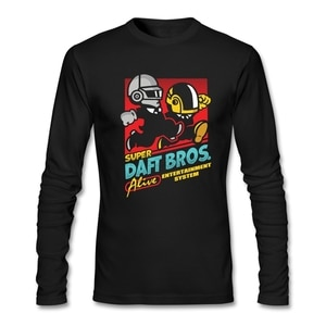 Vintage Style Super Daft Bros T-shirt Man Customize Green Rock T-shirt with Human After All for Men  Famous Short Tops Full