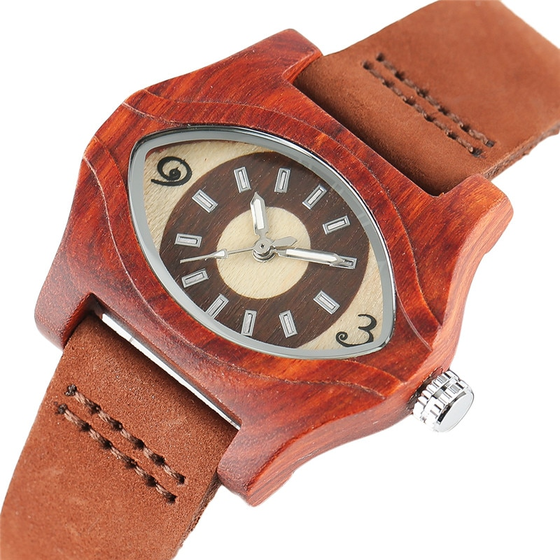 Turkish Evil Eye Bracelets Wooden Watches Women Female Genuine Leather Ethnic Vintage Quartz Watch Woman Men Bamboo Wristwatches