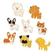 1 stuks Hond Puppy Broche Emaille Poedel Labrador Corgi Bulldog Animal Pins Knop Zak Jas T-shirt Kraag Badge Mode-sieraden