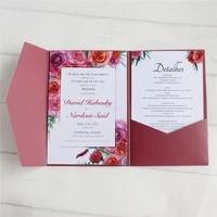 blank wedding invitation envelop pocket tri folding invite cover multi colors offer customized service