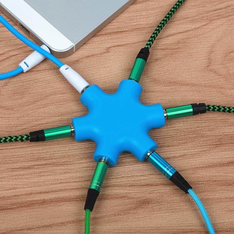 QQQRGB 3,5 мм аудио Aux кабель сплиттер 1 папа до 5 Женский Разъем для наушников 3,5 Джек Поделиться адаптер для планшета MP3 MP4 мобильного телефона