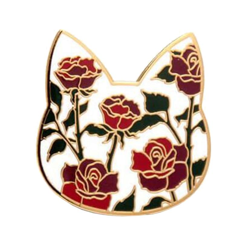 Blooming flowers cat head hard Enamel pin badge