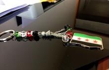 Chaîne drapeau Syrien, 2 pièces, nouveau drapeau de voiture, porte-clés en cristal pour dame syrienne, porte-clés pour sac, cadeaux, bannière coque de téléphone