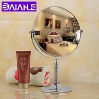 stainless steel bathroom mirror 2 face cosmetic mirror magnifying modern bedroom dresing room rotating makeup mirror standing
