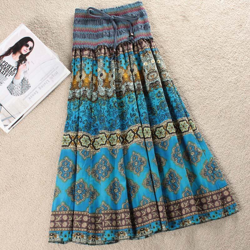 Boho Floral A-line Womens Maxi Skirt Elastic High Waist Sashes Vintage Pleated Womens Skirts 2020 Summer Fashion Clothes Female