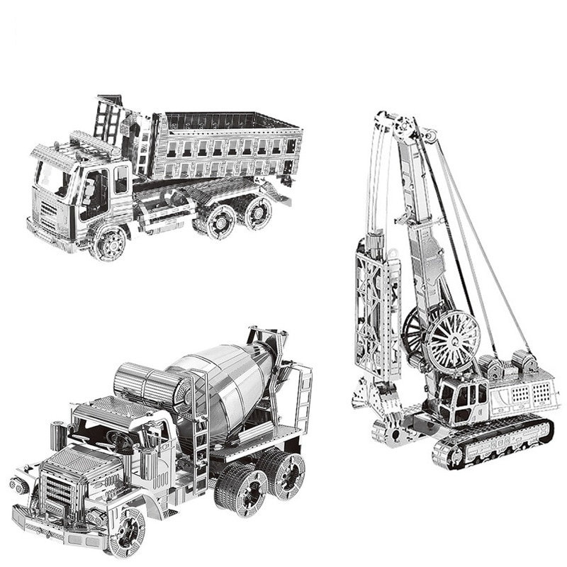 3pcs Set HK Nan yuan 3D Metal Puzzle Self-dumping truck Cement mixer Diaphragm wall grab DIY Laser Cut Puzzles Jigsaw Model Toys