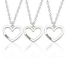 3 pièces meilleurs amis pour toujours collier femmes 3 coeur creux colliers pendentif BFF amitié bijoux pour cadeau de noël Colar