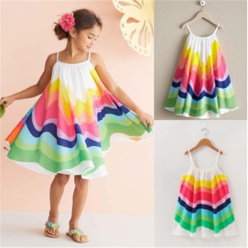 Разноцветное Радужное платье для маленьких девочек, летнее платье без рукавов для маленьких девочек, детское праздничное пляжное платье, сарафан для девочек, 2019