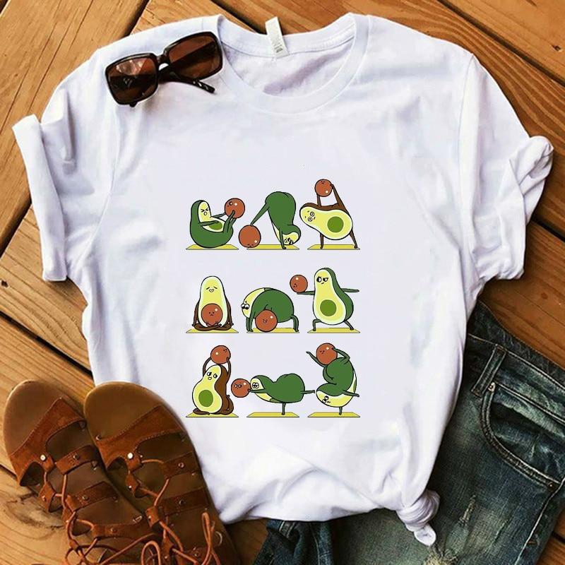 Белая футболка Yo Ga авокадо, Женская забавная футболка с героями мультфильмов для девочек, 100% хлопок, супер мягкие летние повседневные женские топы, футболки в стиле Харадзюку