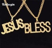 Uodesign Hip Hop glacé Bling complet strass lettre jésus & béni homme pendentifs colliers couleur or collier pour hommes bijoux
