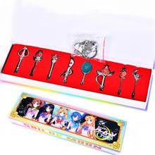 Anime Sailor Moon 8 PCS/LOT Tsukino Usagi Mars Jupiter Vénus Mercure Métal Alliage Porte-clés Collier Action Figure Cosplay Jouets