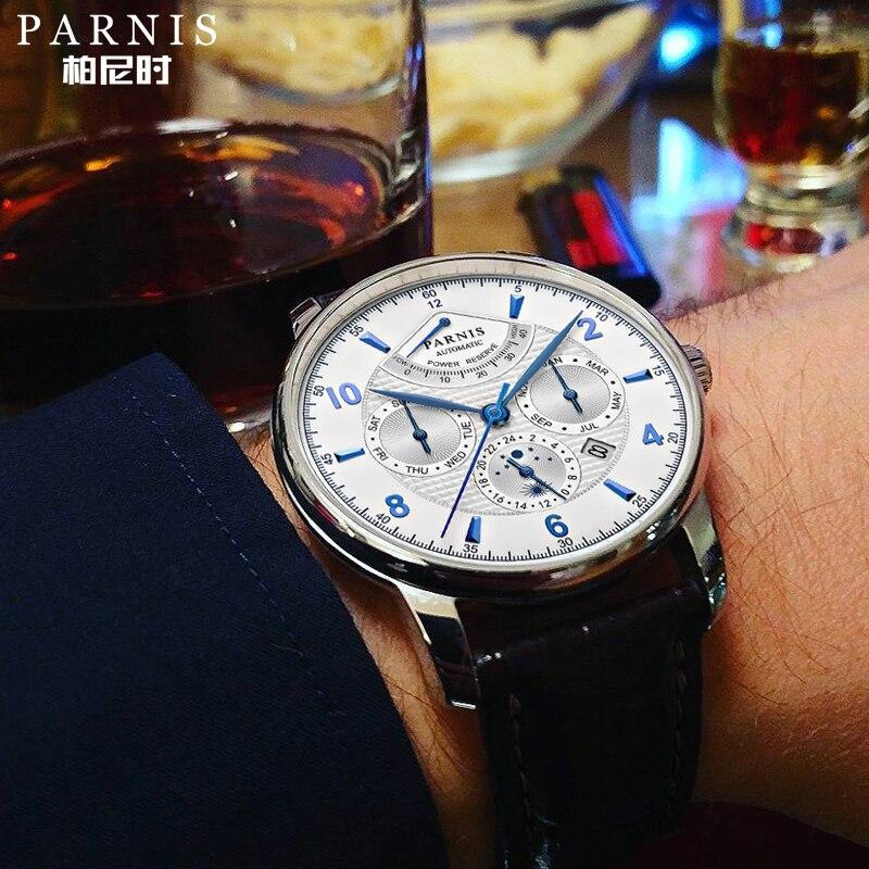 Parnis 43 мм автоматические часы Moon Phase запасная Мощность часы для мужчин люксовый бренд Топ Miyota механические намоточные часы PA6062-A подарок для м...