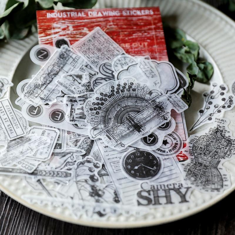 Adesivos para scrapbooking, 88 peças adesivos vintage mecânicos de desenho de vellum para scrapbooking feliz planejador/projeto de jornal