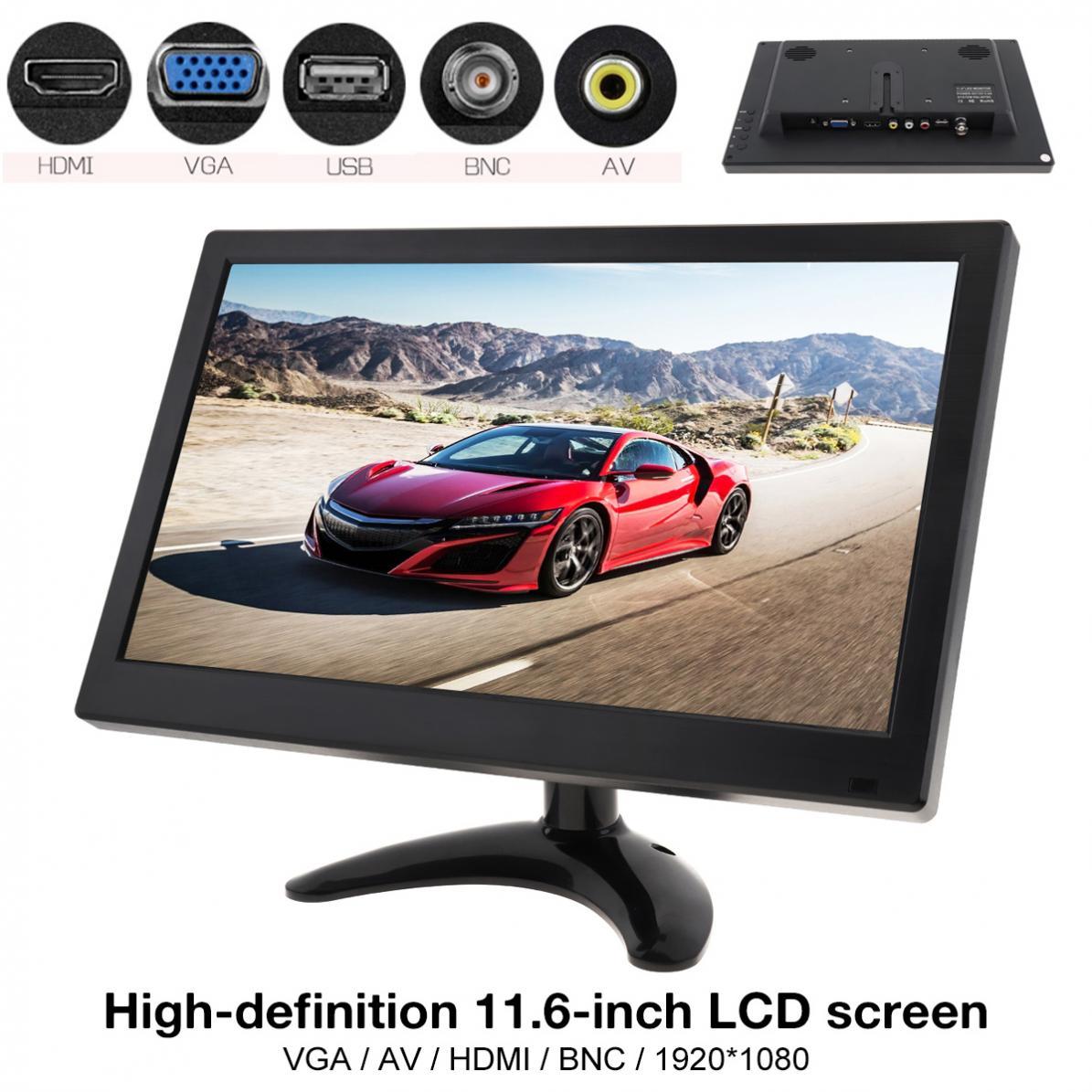 Moniteur de sécurité vidéo LCD 11.6 pouces   Écran HD IPS, TFT LCD, ordinateur TV MP5, 2 canaux, entrée vidéo, avec haut-parleur, AV BNC VGA HDMI