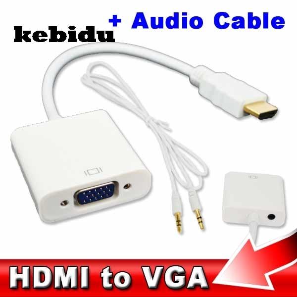 Kebidu HDMI a VGA 3,5mm enchufe de Audio Cable adaptador convertidor macho a hembra HDMI vídeo VGA adaptador HDTV CRT Monitor TV