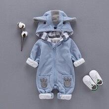 Newbrown-vêtements pour nouveau-né   Automne et hiver, pull-over pour garçons, barboteuse à capuche, combinaison tenues pour bébé Menino Macacao