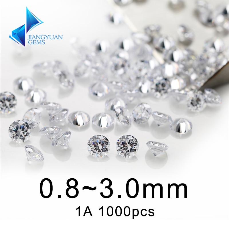 1000 шт 1A 0,8 ~ 3 мм белый кубический циркониевый камень круглой формы, европейская машина, для ювелирных изделий