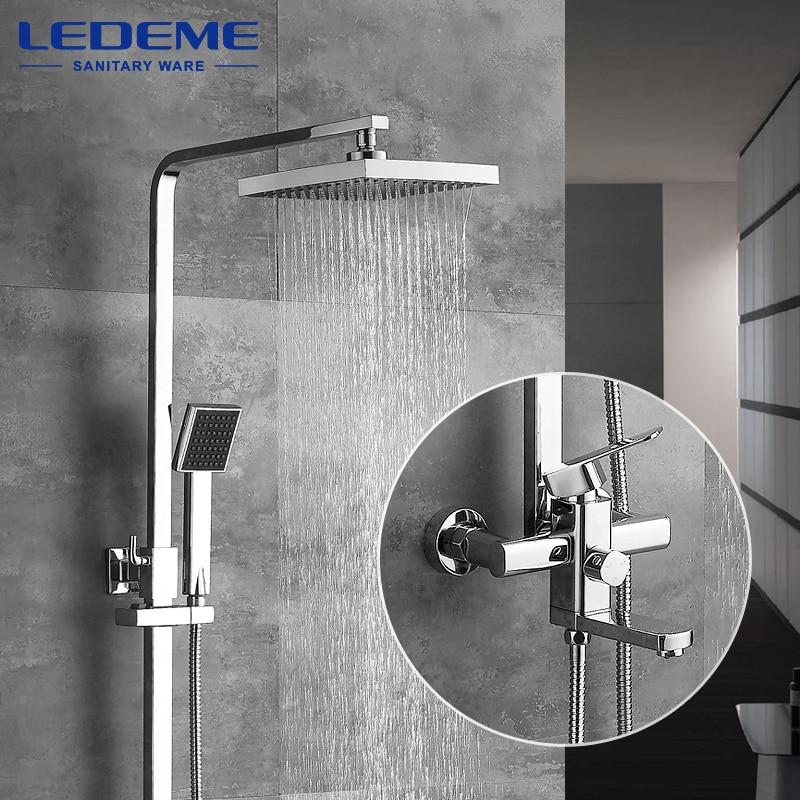 LEDEME الحديثة مربع الكروم دش صنبور رئيس الحنفيات دش يدوي البخاخ خلاط حامل واحد التحكم المزدوج L2433