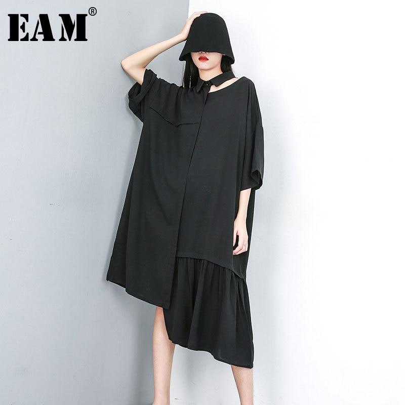 [EAM] 2020 New Spring Summer Lapel Short Sleeve Black Hollow Out Irregular Pleated Big Size Shirt Dress Women Fashion JU650