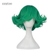 Perruque de Cosplay synthétique verte bouclée-ccutoo One Punch Man Senritsu no Tatsumaki   Perruques de déguisement pour fête de femmes de 12 pouces
