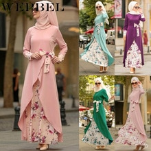 WEPBEL-robe pour femmes musulmanes, col rond, manches longues, mode avec nœud Floral, nœud à fleurs, Abaya, tenue large élégante pour femmes islamiques, collection été décontracté