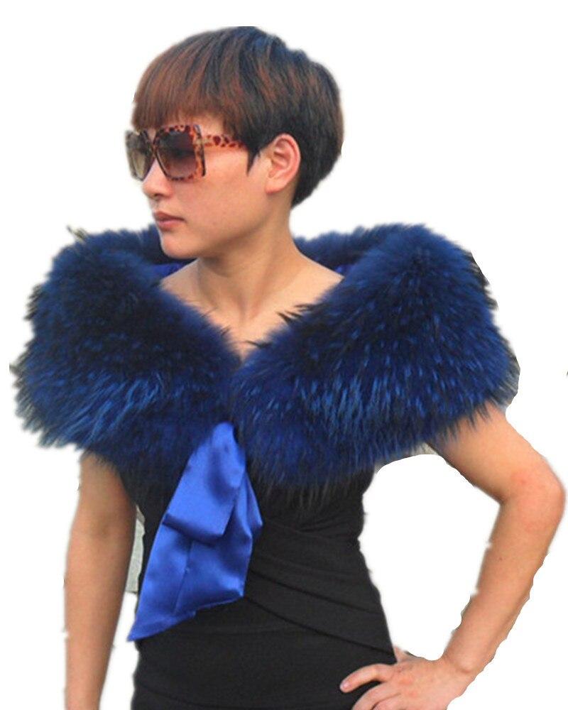 Cuello falso Otoño Invierno de lujo caliente toda la pieza ladiesscarf con cinta, mujeres tie rojo, Negro Azul racccon Cuello de piel S8041